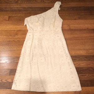 One Shoulder Cream Lace Dress